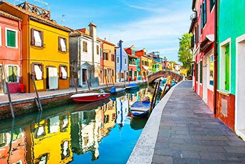 Burano island, Venice, Italy - Colorful Houses with Reflections on the Canal 9017913 (9x12 Art Print, Wall Decor Travel Poster)