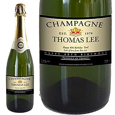 Personalised Birthday Champagne 75cl with FREE Gold Gift Box. Any Name & Message for Any Birthday.