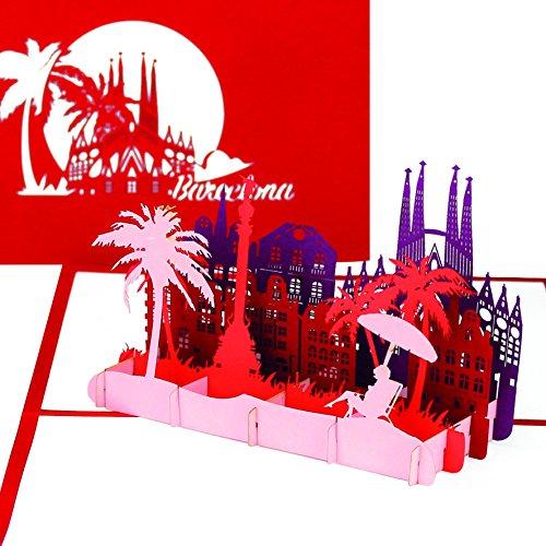 """Grußkarte """"Barcelona"""" - 3D Pop Up Karte mit Skyline & Sagrada Familia – Städtekarte als Souvenir, Einladung & Reisegutschein zum Spanien Urlaub & City Trip Barcelona"""