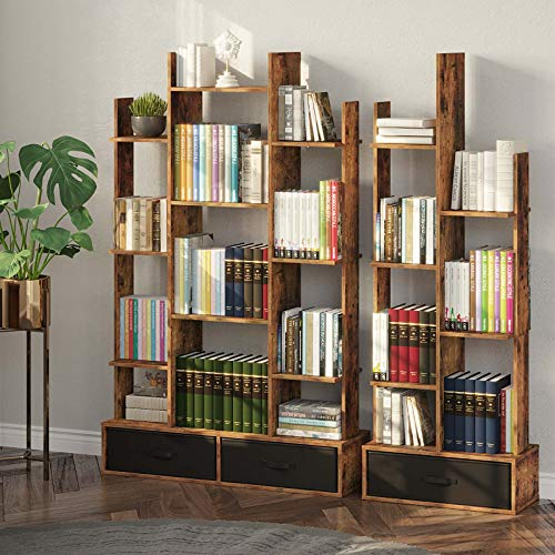 Rolanstar Bookshelf Bookcase with Drawer, Free Standing Tree Bookcase, Display Floor Standing Storage Shelf for Books CDs Plants,Utility Organizer Shelves for Living Room, Bedroom, Home Office