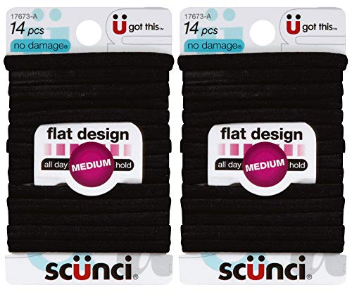 powerful Scunci No-Damage Comfortable black hair tie, all day flat shape, 14 / pack (2 packs)