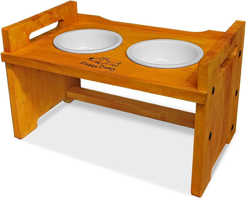 Floppy Dawg Elevated Wooden Max 48% OFF Dog Bowl Stand Ceramic San Diego Mall Bowls. with 2