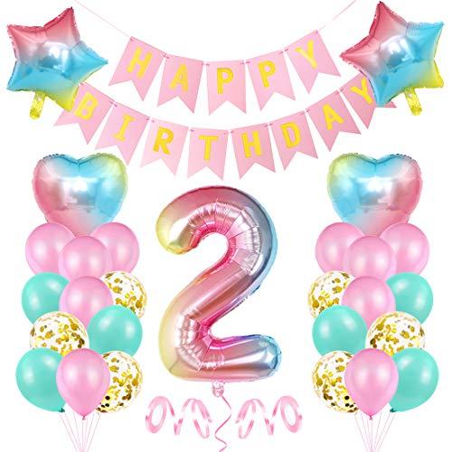 2er Cumpleaños Globos, Decoración de cumpleaños 2 Rosa, F