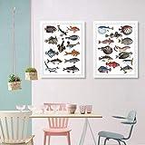 Carteles e impresiones de peces vintage Hoja de diario de la naturaleza Arte de pared retro Pintura en lienzo Cuadros de pared Sala de estar Decoración para el hogar -40x60cmx2 piezas (sin marco)