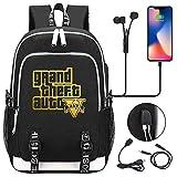 QIANGSH Juego Grand Theft Auto Golden Youth Student Schoolbag USB Hombres Y Mujeres Mochila Informal 03 Estilo por Imagen