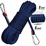 Perantlb Rock Climbing Rope, 0.38'(10mm) Diameter Outdoor Hiking Accessories High Strength Safety Rope, 33ft 66ft 98ft 161ft,230ft, Escape Rope Fire Rescue Rope