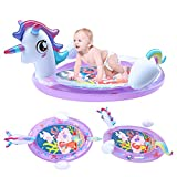 Lightaling Unicorn Tummy Time Baby Mat - Baby Tummy Time Water Mat - Large Inflatable Play Mat 3 6 9 12 Months for Infants Newborns, Strengthen Baby's' Muscles in Daily Fun Time