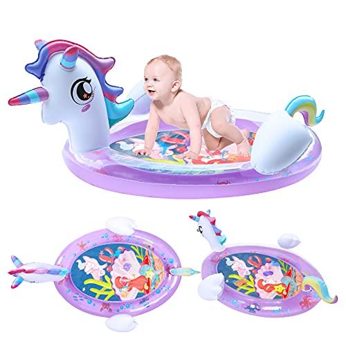LIGHTALING Einhorn Bauchzeit Baby Matte - Baby Bauchzeit Wassermatte - Große aufblasbare Spielmatte 3 6 9 12 Monate für Kleinkinder Neugeborene, stärkt Babys Muskeln in der täglichen Spielzeit