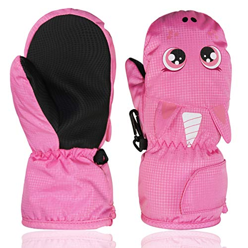 YR.Lover Kids Winter Snow & Ski Mittens - Youth Mitts Gloves Designed for Skiing & Snowboarding -Synthetic Leather Palm - Fits Toddlers(2-4 Years)