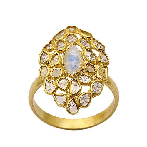 Anillo Polki de diamantes chapado en oro de 14 quilates, piedra lunar arcoíris central, anillo de plata 925 con diamantes de talla rosa natural preciosa, (20)