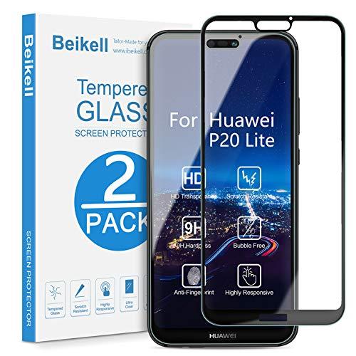 Vetro Temperato per Huawei P20 Lite, Beikell [2 Pezzi] Copertura Completa Pellicola Protettiva Protezione Schermo per Huawei P20 Lite - Durezza 9H, Anti graffio, Senza Bolle, Facile da Pulire