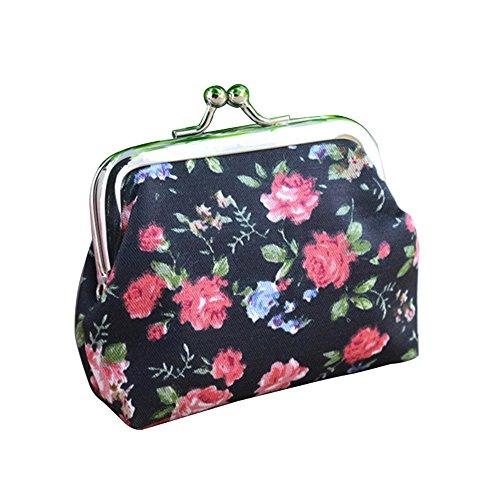 Portable Women Girls rose Flower bomboniera fibbia portamonete in chiavi della borsa Black