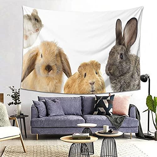 LONSANT Tapiz,Divertido de roedores conejo y conejillo de indias hámster,Decoración de la Pared Manta Arte de la Pared Tapiz Dormitorio Sala de Estar Toalla de Playa