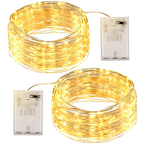 LED Lichterkette [2 Pack] OMERIL 12M Lichterkette Batterie mit 120 LEDs Wasserdicht Stimmungs Lichterkette Draht für Zimmer, Kinderzimmer, Weihnachten, Party, Hochzeit, DIY, Innen und Außen. Warmweiß