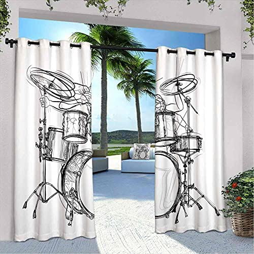 Rock Music - Cortinas impermeables para interiores y exteriores, para patio, diseño de boceto, estilo baterista, diseño monocromo, para dormitorio, sala de estar, porche, pérgola, 108 x 84 pulgadas