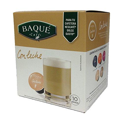Cafés Baqué - 10 Capsulas Compatibles Dolce Gusto. Con Leche