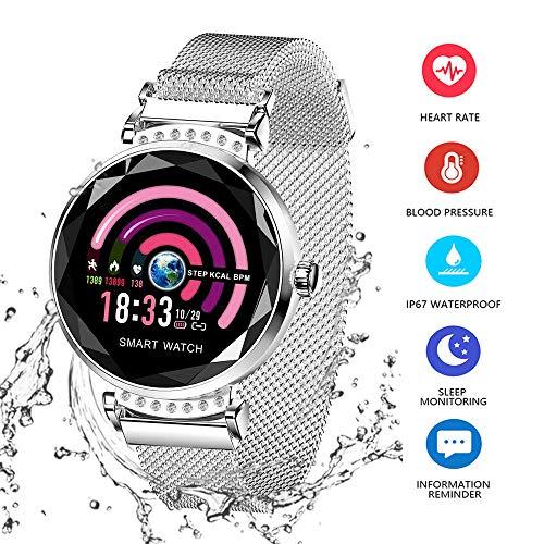 Wysgvazgv Fitness Tracker für Damen H2 Fitness-Uhr, Activity-Tracker, Pulsmesser, wasserdicht, IP67, Schrittzähler, Kalorienverbrauch, für Samsung Huawei iOS Android silber / schwarz