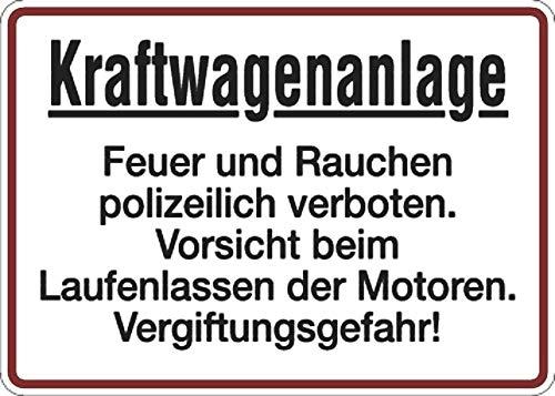 Schild Alu Kraftwagenanlage Feuer und Rauchen polizeilich verboten 250 x 350 mm (Explosionsgefahr, Rauchverbot) praxisbewährt, wetterfest