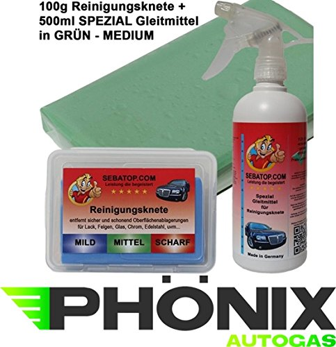 SEBA Top Pâte de nettoyage vert moyen 100 g avec Boîte de rangement et lubrifiant spécial 500 ml