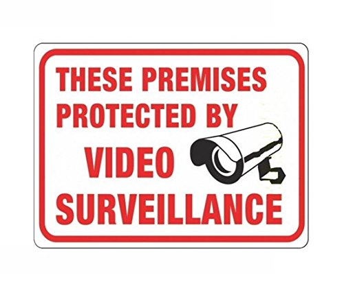 GrandSiri 1 Pcs Warning Security Cameras Plastic Sign Premises Protected Video Surveillance