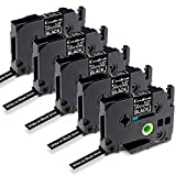 Greateam Compatible TZe Black Label Tape Replacement for Brother P-Touch Label Tape 9mm 0.35' TZe-325 White on Black Use for Brother Label Maker PT-H110 PT-D210 PT-1290 PT-D400 PT-D600, 5-Pack