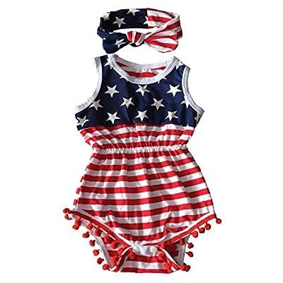 Happy GoGo Askwind July 4th Baby Flag Pattern Tassel Balls Summer Romper +Headband