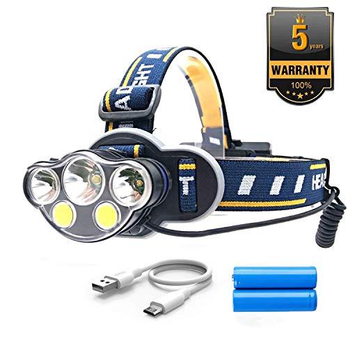 Linterna de cabeza Blinkle, superbrillante, 15000 lúmenes, 8 modos, linterna frontal LED XML-T6 + 2XPE + 2COB recargable por USB, linterna frontal para camping, senderismo, correr, ciclismo