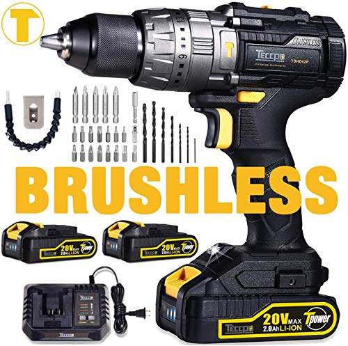 Brushless Drill Driver 20V MAX, TECCPO Professional 60Nm Cordless Drill with 2 Batteries 2.0Ah, 30mins Fast Charger, 21+3 Torque Setting, LED Light, 29pcs Accessories - TDHD02P