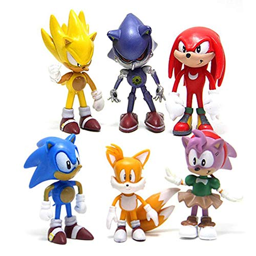 "sonic 6pcs Action Figures Cake Toppers Cute Toys Cupcake Topper, Cake Toppers, Cake Decoration, 2""-2.8"""