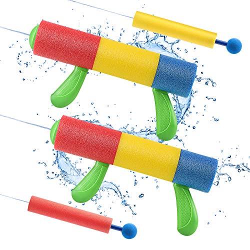 Lehoo Castle Pistola de Agua, 4 Pack Pistolas de Espuma para Niños, Pistola de Agua de Espuma EVA de 9m de Alcance, Piscina Juguetes Niños para Batalla de Agua, Playa, Juego al Aire Libre