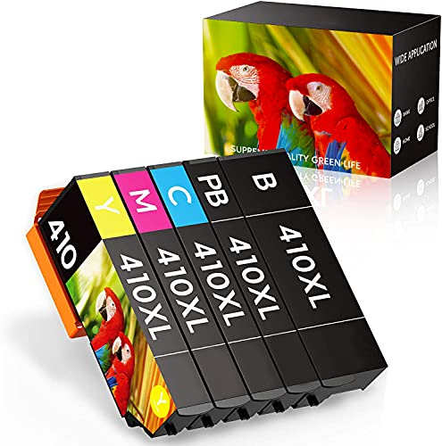 SEOKOK Remanufactured Ink Cartridge Replacement for Epson 410XL 410 XL T410XL to use with Expression XP-630 XP-7100 XP-830 XP-640 XP-530 XP-635 (Black, Cyan, Magenta, Yellow, Photo Black) 5 Pack