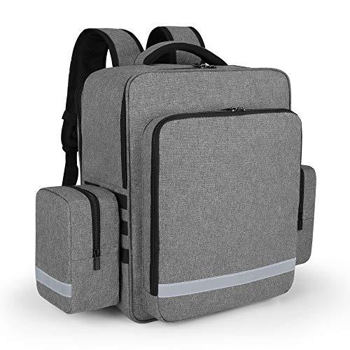 Trunab Notfallrucksack Leer Rettungstasche Grau, Rucksack für Erste Hilfe, Arzttasche Hausbesuch mit Tasche mit Abnehmbaren Seitentaschen und Rutschfestem Boden, Geeignet für EMT, Hausbesuche usw