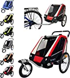 Papilioshop Leon Remorque poussette pour le transport de 1ou 2enfants avec vélo,...