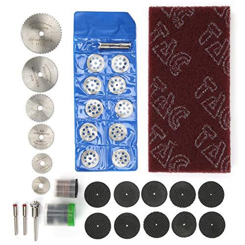 Juego de accesorios para lijadora de 88 piezas, disco de sierra circular HSS + disco de corte de diamante + discos de corte de resina + discos de lijado + papel de lija de acabado + mango, para herram