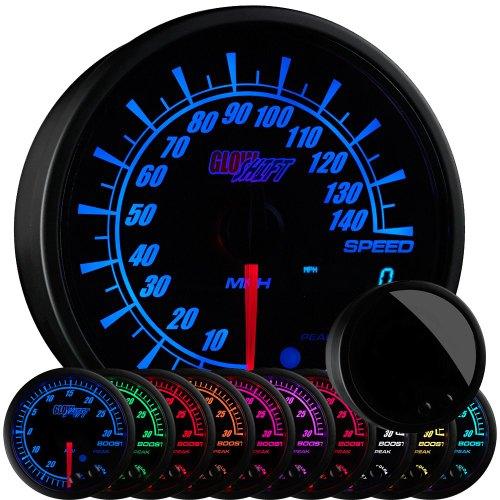 GlowShift Elite 10 Color 140 MPH Speedometer Gauge - Mounts in Custom Dashboard - Resettable Trip Meter - Black Dial - Tinted Lens - Peak Recall Function - 3-3/4
