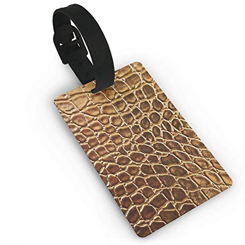 Tönung goldene Krokodilleder gedruckt Reise Koffer Kofferanhänger, stilvolle und erkennbare Gepäckanhänger, beschreibbare Namen auf der Rückseite, Autonamen ID
