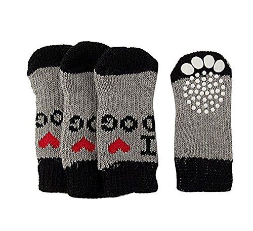 Runfon 2Pares Calcetines Calcetines Perros y Gatos Mascotas Calcetines Antideslizantes Calcetines Invierno