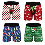 URVIP Christmas Underwear 4 Pack Funny Boxers, Novelty Boxer Shorts, Humorous Underwear, Gag Gifts for Men Multi-03 XL