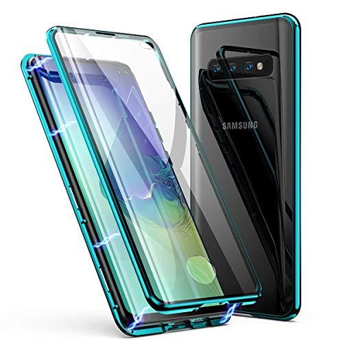für Samsung Galaxy S10 Hülle Magnetische Adsorption Technologie Metallrahmen 360 Grad Full Body Handyhülle Vorne hinten Gehärtetes Glas Schutzhülle Einteiliges Ultra Dünn Flip Cover,Grün