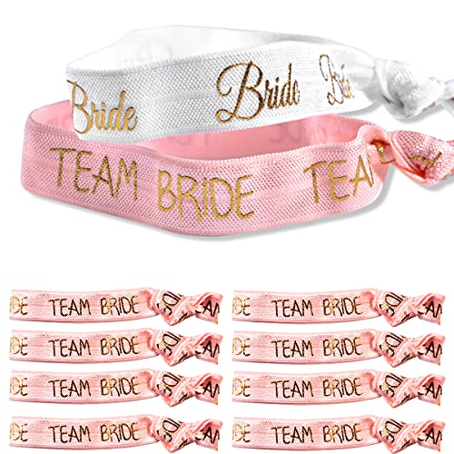 Bracelets de Fête de Poule, Poignet de Mariée de Mariage 1 x Mariée 10 x Bracelets de Mariée D'équipe pour le Mariage Enterrement de vie de Jeune Fille (Pink)