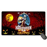 Jack Skellington & Sally Fan Art Gift Poster Ergonomic Computer Mouse Pad with Stitched Edge, Non-Slip Large Durable Mouse Mat for Laptop, Computer & PC, Funny Gaming Keyboard Pad for Teens Home