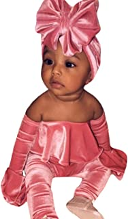 Baby Girls Off Shoulder Ruffle Sleeve Romper Jumpsuit Fashion Cute Velvet Bodysuit Outfits Set Headband