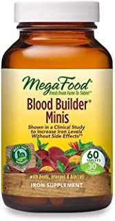 MegaFood, Blood Builder Minis, Daily Iron Supplement and Multivitamin, Supports Energy and Red Blood Cell Production Witho...
