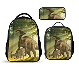 SARA NELL Kids Boys Girls Backpack 3 Sets,School Backpack Student Bookbags Travel Daypack Shoulder Bag Fashion Rucksack Troodon Dinosaur in forest