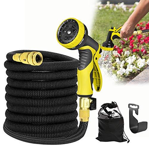 HENGMEI Flexibler Gartenschlauch 30m Wasserschlauch ausdehnbar bis Gartenbrause mit Multifunktion Düse 9 Arten Brause für Gartenarbeit Autowäsche