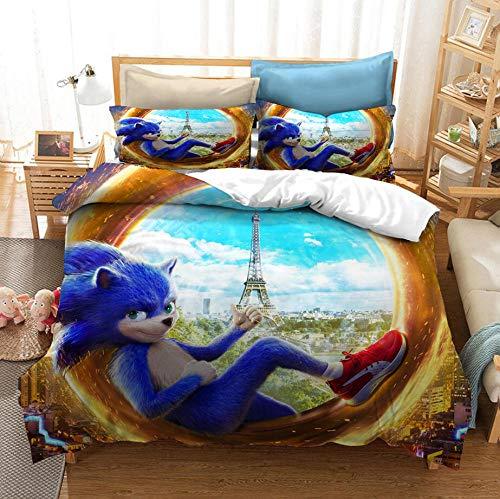 Ropa de camadibujos animados para niños, ropa de cama con funda nórdica de animación sónica, funda nórdica y funda de almohada con 3D, textiles para dormitorios de niños y niñas-F_135x200cm (2 pcs)