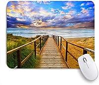 NIESIKKLAマウスパッド 海辺のビーチ風景木製の通路海の風景 ゲーミング オフィス最適 高級感 おしゃれ 防水 耐久性が良い 滑り止めゴム底 ゲーミングなど適用 用ノートブックコンピュータマウスマット