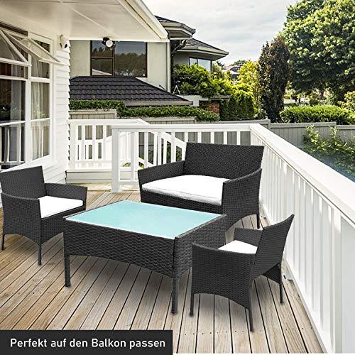 wolketon Gartenmöbel Set Poly Rattan Balkonmöbel Sitzgruppe Schwarz Langlebig Lounge Set Mit 2-er Sofa, Singlestühle, Tisch und Sitzkissen - 2
