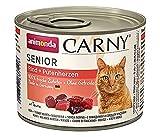 animonda Carny Senior cibo per gatti, alimento umido per gatti a partire da 7 anni, manzo + cuori di tacchino, 6 x 200 g
