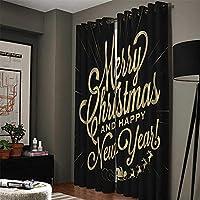 """遮光カーテンの寝室 遮光カーテンプリント断熱ペンシルプリーツカーテン用寝室 - メリークリスマス - ブラック86""""W x 84.6"""" H、温度とノイズの減少、2つのパネルの調整 アイレット遮光窓カーテン (Size : 59x65 inch)"""